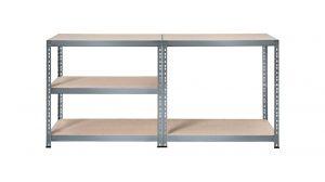 Schwerlastregal POWERFIX 5 Böden, mit Stecksystem, umlaufender Kantenschutz